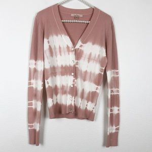 Sweaters - Pink Tie Dye Button Front Cardigan Sweater Medium